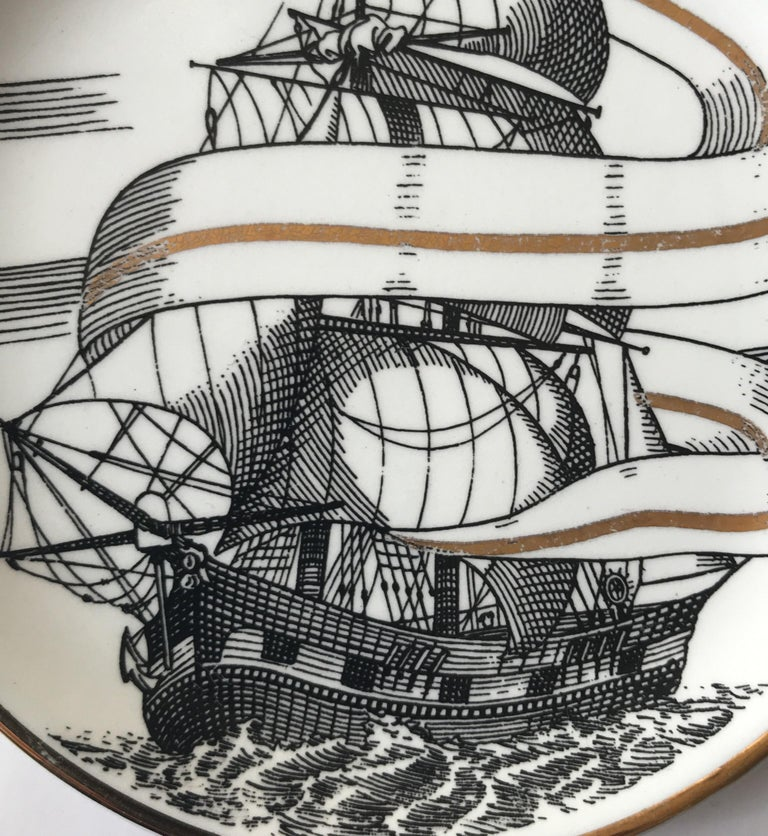 Piero Fornasetti Set of Five Italian Porcelain Coasters For Sale 4