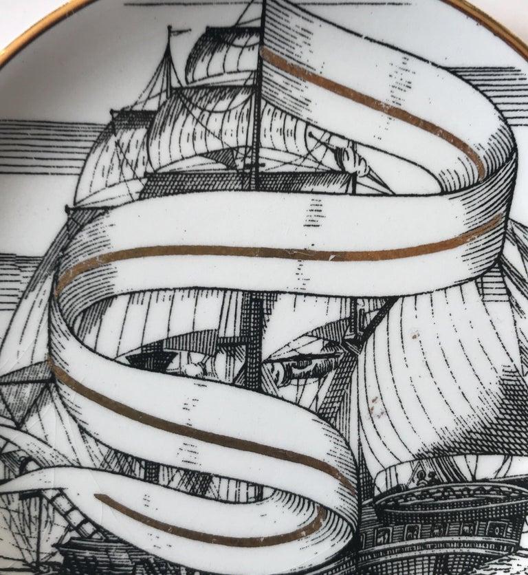 Piero Fornasetti Set of Five Italian Porcelain Coasters For Sale 5