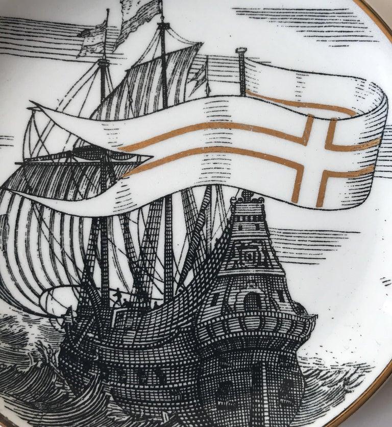 Piero Fornasetti Set of Five Italian Porcelain Coasters For Sale 7