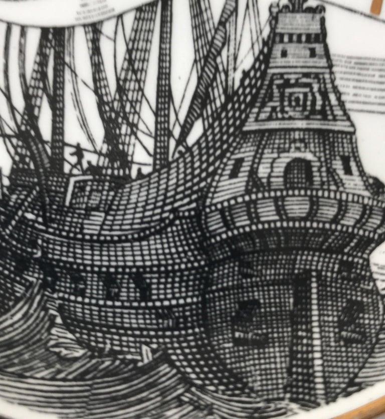 Piero Fornasetti Set of Five Italian Porcelain Coasters For Sale 9