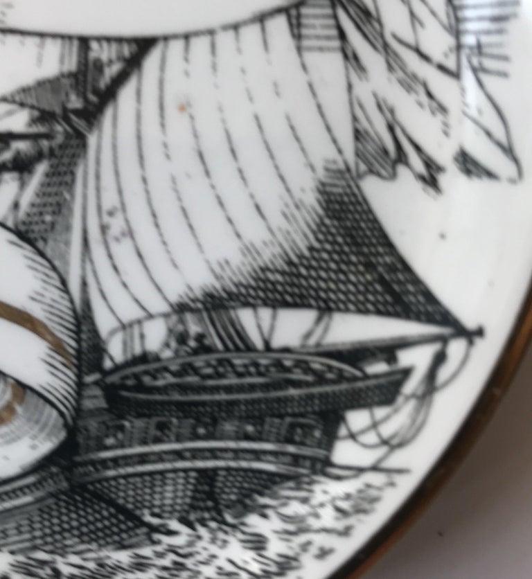 Piero Fornasetti Set of Five Italian Porcelain Coasters For Sale 12