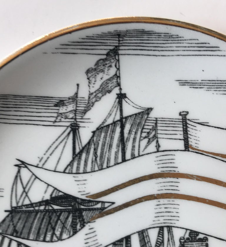 Piero Fornasetti Set of Five Italian Porcelain Coasters For Sale 14