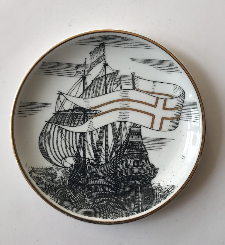 Mid-Century Modern Piero Fornasetti Set of Five Italian Porcelain Coasters For Sale
