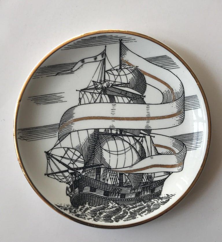 Appliqué Piero Fornasetti Set of Five Italian Porcelain Coasters For Sale