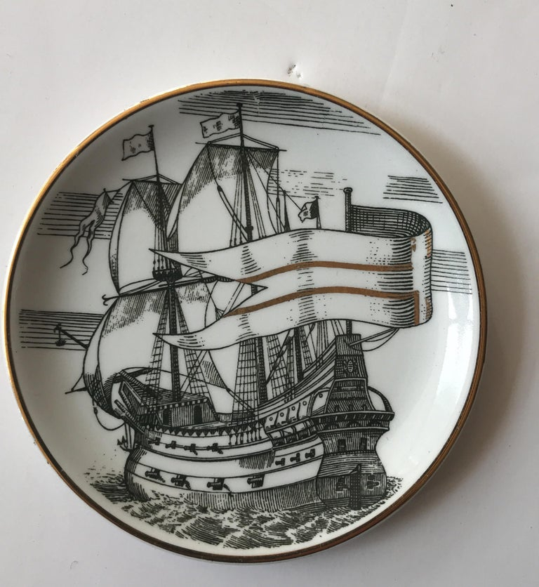 Piero Fornasetti Set of Five Italian Porcelain Coasters In Good Condition For Sale In Chicago, IL