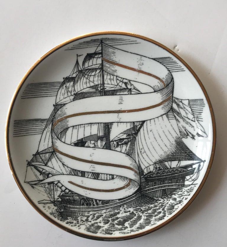 Mid-20th Century Piero Fornasetti Set of Five Italian Porcelain Coasters For Sale
