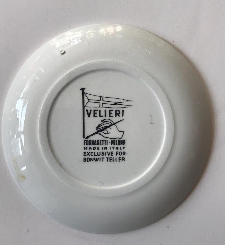 Piero Fornasetti Set of Five Italian Porcelain Coasters For Sale 2