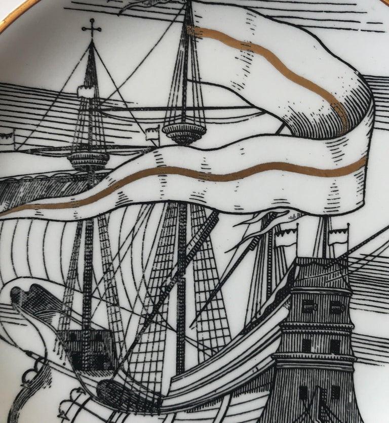 Piero Fornasetti Set of Five Italian Porcelain Coasters For Sale 3