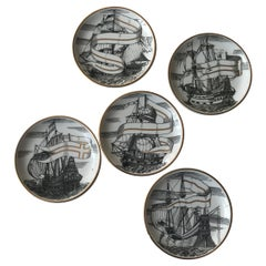 Piero Fornasetti Set of Five Italian Porcelain Coasters