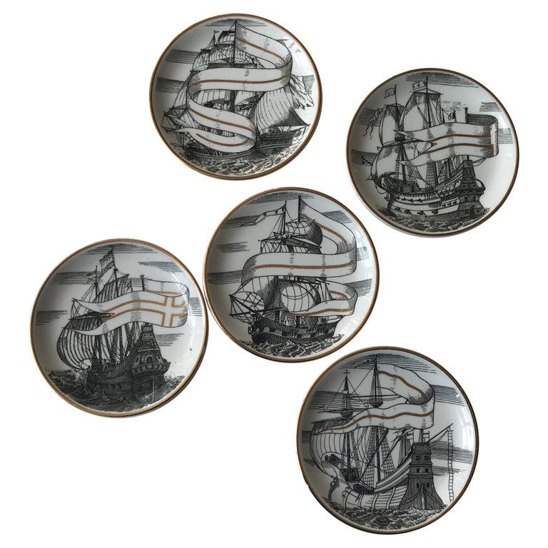 Piero Fornasetti Set of Five Italian Porcelain Coasters For Sale
