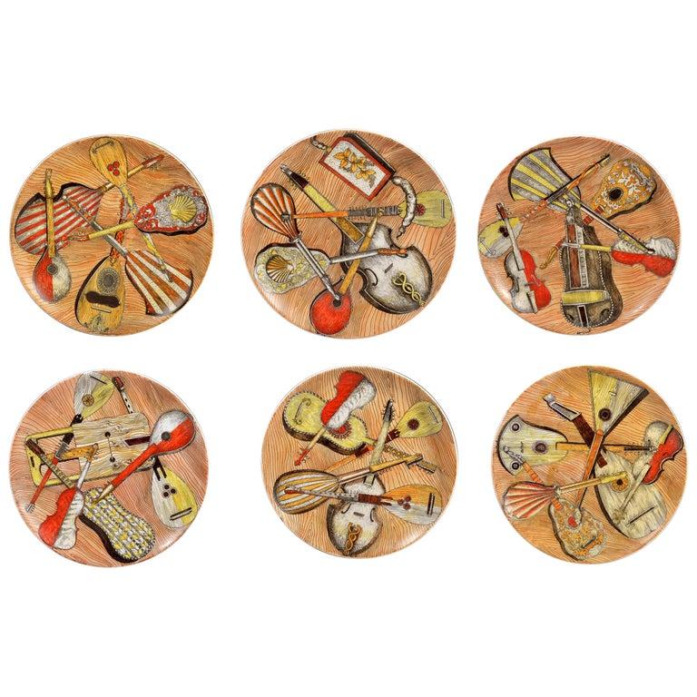 Piero Fornasetti Set of Six Strumenti Musicali Plates, 1950s-1960s For Sale