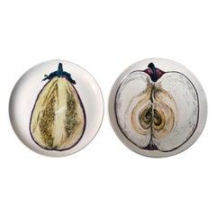 Piero Fornasetti Sezioni di Frutta Porcelain Plates of an Eggplant & an Apple