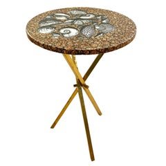 Piero Fornasetti Side Table with Seashell Motif, Italy, 1960s