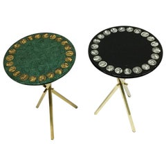 Piero Fornasetti Side Tables, Brass Tripod Base with Roman Coin Design, 1960s