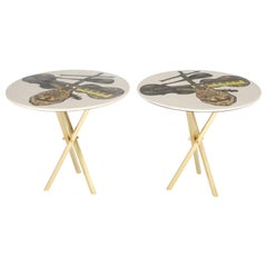 Piero Fornasetti Side Tables with Instrument Illustrations