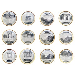 Piero Fornasetti Specialità Milanese Set of Twelve Porcelain Plates, 1960-1970