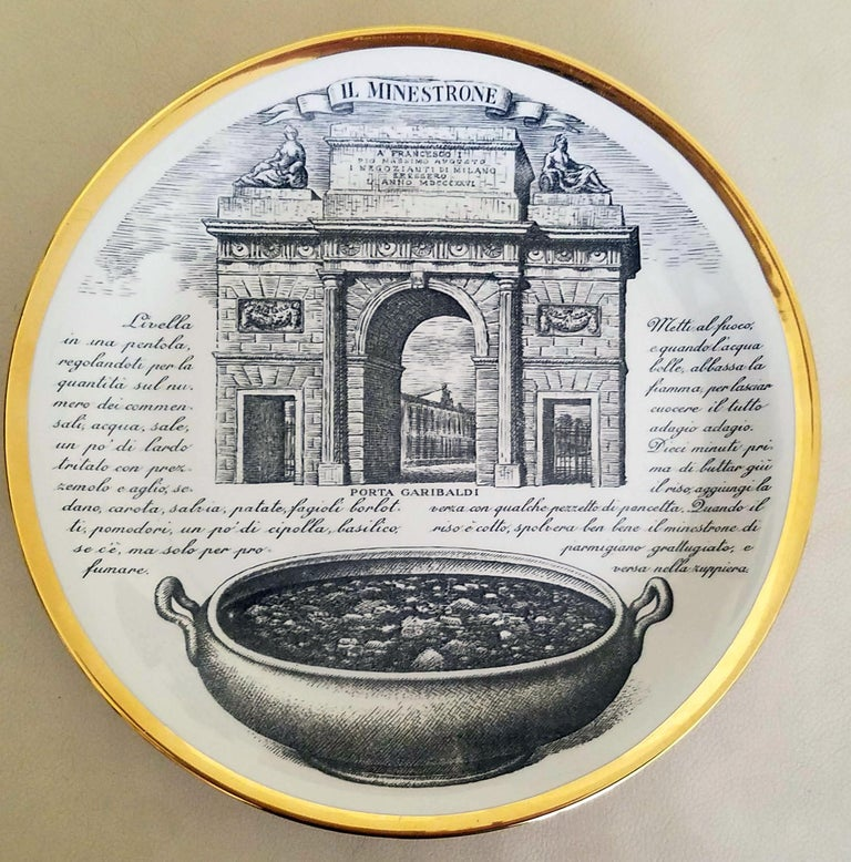 Piero Fornasetti Specialità Milanese Set of Twelve Porcelain Plates, 1960-1970 For Sale 4