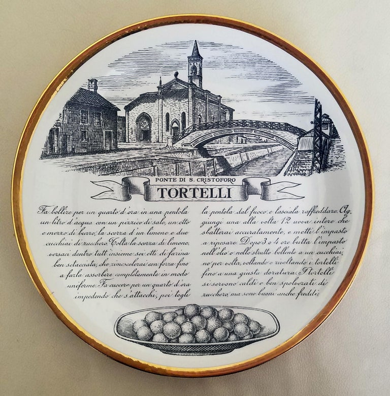 Piero Fornasetti Specialità Milanese set of twelve porcelain plates, 1960-1970.  The complete set of twelve Specialità Milanese porcelain plates designed by Piero Fornasetti are each designed with a different traditional recipe, they have a gold