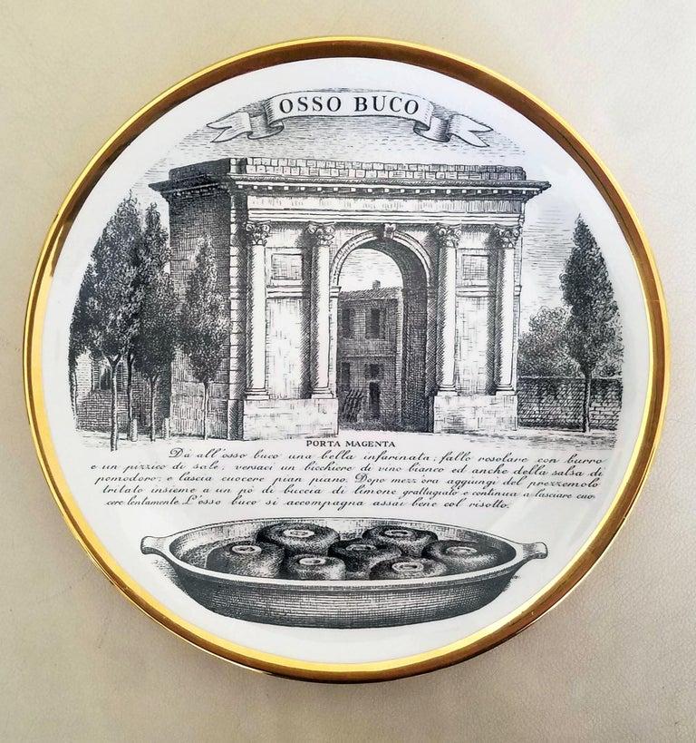 Mid-Century Modern Piero Fornasetti Specialità Milanese Set of Twelve Porcelain Plates, 1960-1970 For Sale