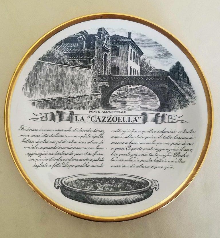 Italian Piero Fornasetti Specialità Milanese Set of Twelve Porcelain Plates, 1960-1970 For Sale
