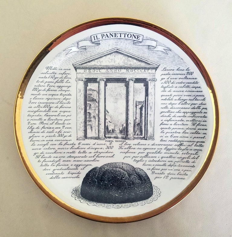 Piero Fornasetti Specialità Milanese Set of Twelve Porcelain Plates, 1960-1970 In Good Condition For Sale In Downingtown, PA