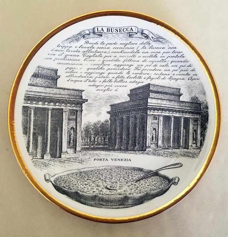 20th Century Piero Fornasetti Specialità Milanese Set of Twelve Porcelain Plates, 1960-1970 For Sale