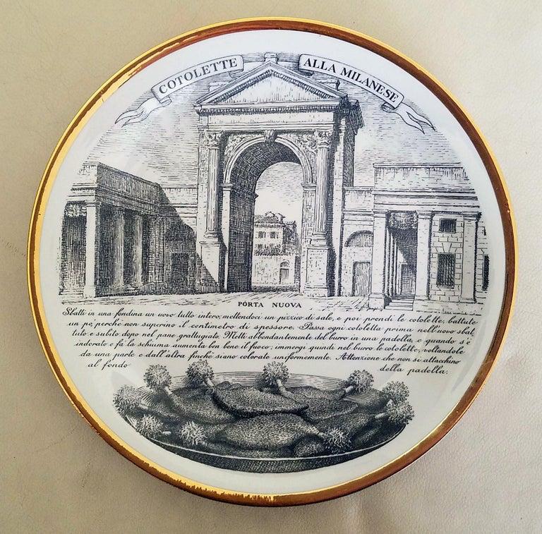 Piero Fornasetti Specialità Milanese Set of Twelve Porcelain Plates, 1960-1970 For Sale 2