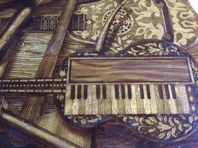 Piero Fornasetti Strumenti Musicali Coffee Table circa 1960s Musical Instruments For Sale 4