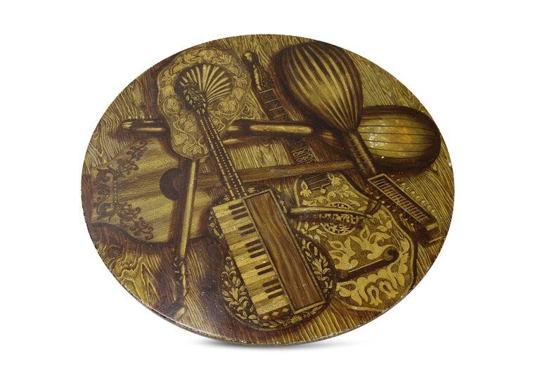 Piero Fornasetti Strumenti Musicali Coffee Table circa 1960s Musical Instruments For Sale 7