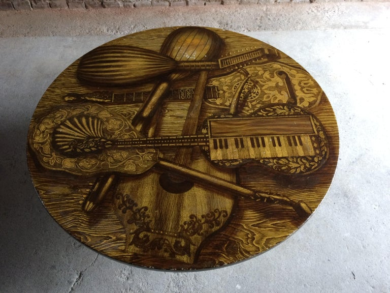 Mid-Century Modern Piero Fornasetti Strumenti Musicali Coffee Table circa 1960s Musical Instruments For Sale