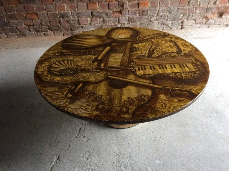 Italian Piero Fornasetti Strumenti Musicali Coffee Table circa 1960s Musical Instruments For Sale