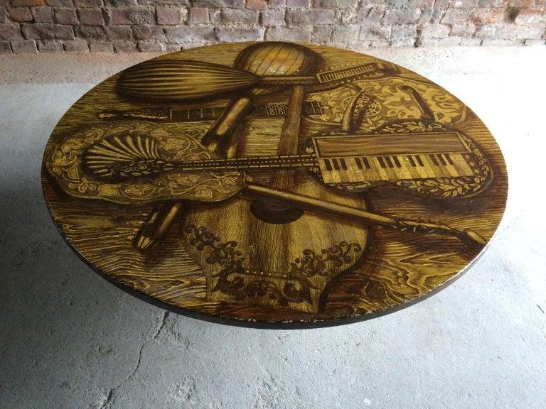 Piero Fornasetti Strumenti Musicali Coffee Table circa 1960s Musical Instruments For Sale 2