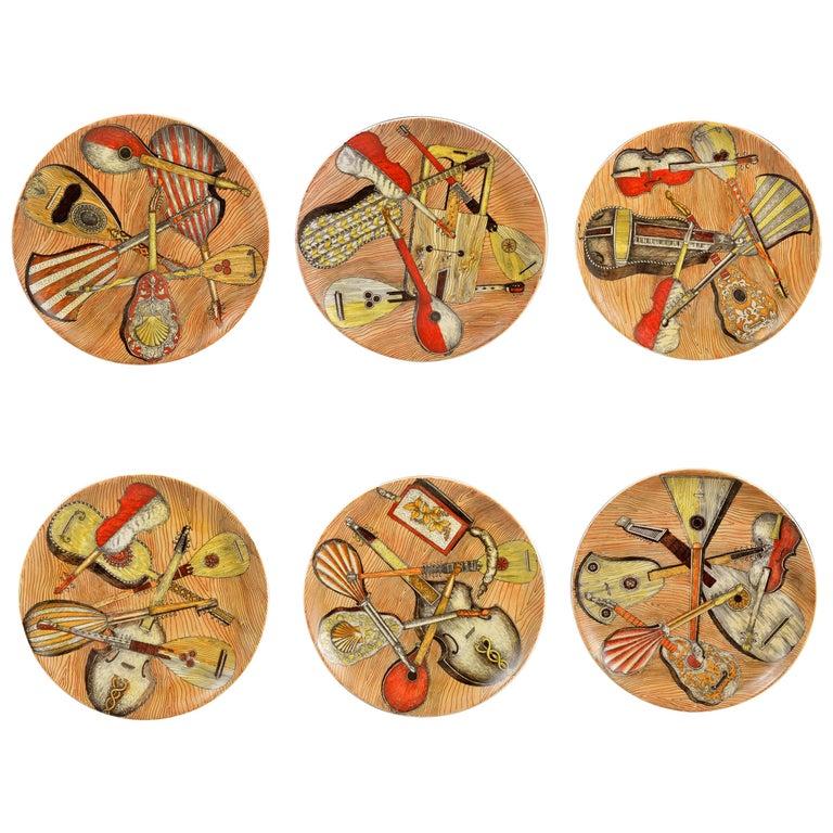 Piero Fornasetti Strumenti Musicali Plates, Set of Six For Sale