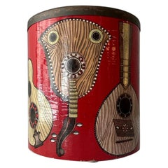 Piero Fornasetti Strumenti Red Wastepaper Basket Brass Frame Masonite Italy 1955