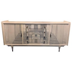 Piero Fornasetti Style Mid-Century Modern Sideboard Architecturally Decorated