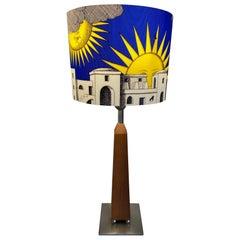"""Piero Fornasetti Table Lamp, """"Il sole di Capri"""", cherry wood and polypropylene"""