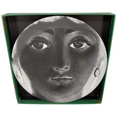 Piero Fornasetti Tema e Variazioni Porcelain Black and White Large Dish Charger