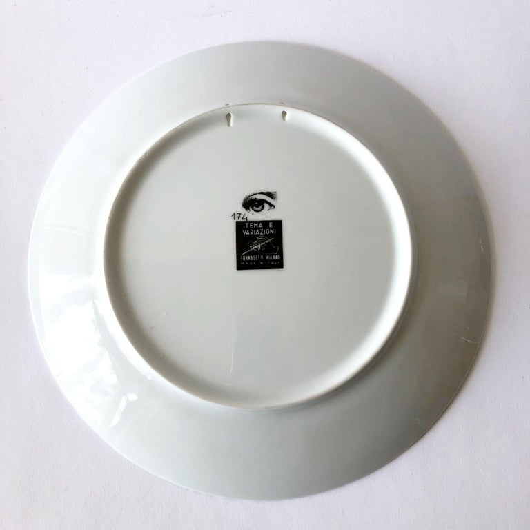 Mid-Century Modern Piero Fornasetti Themes and Variations Milano Italy Porcelain Plate For Sale