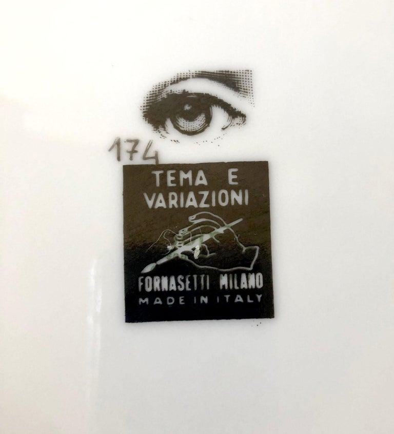 Italian Piero Fornasetti Themes and Variations Milano Italy Porcelain Plate For Sale