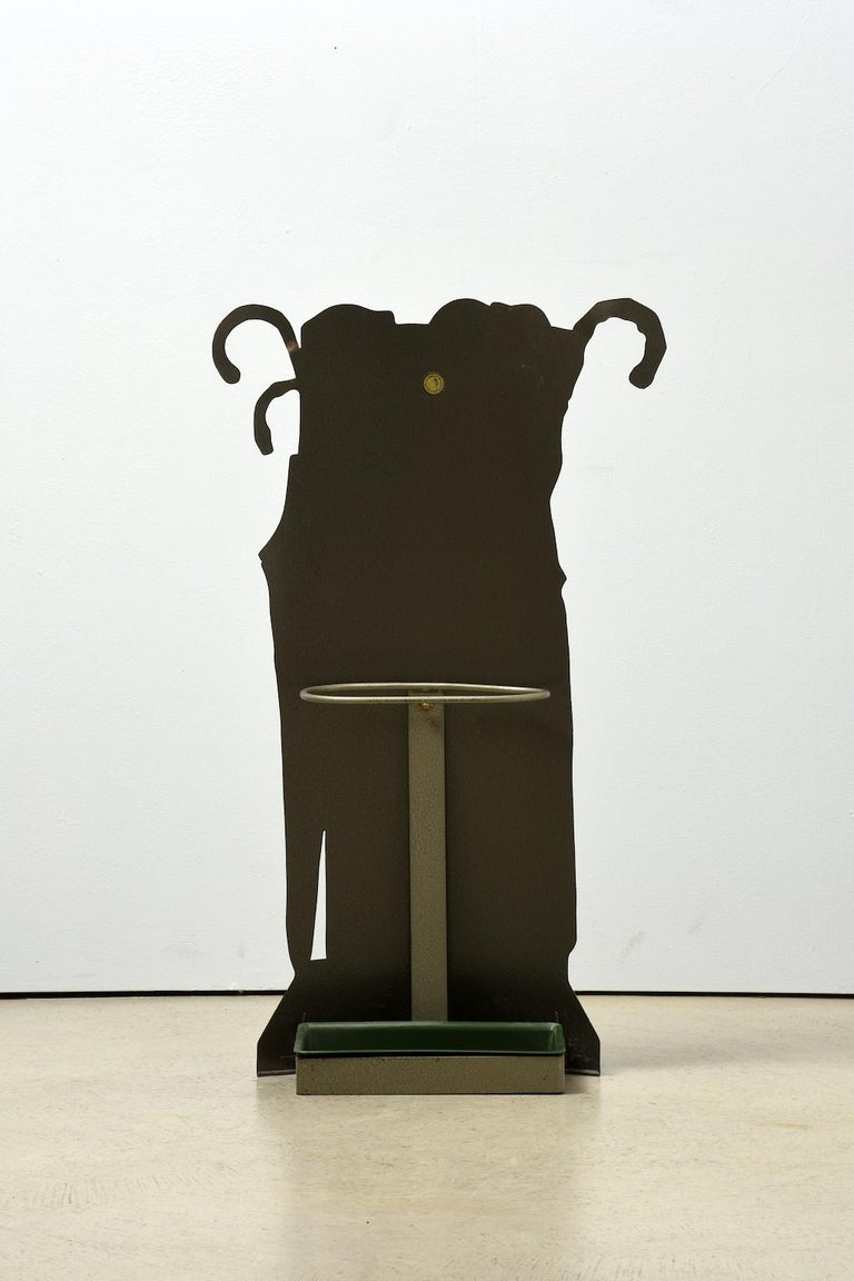 Mid-Century Modern Piero Fornasetti Umbrella Stand Fornasetti Italy 1950s Print over Enameled Steel For Sale