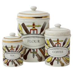 Piero Fornasetti Vintage Ceramic Canister Storage Jars, Italy Flour, Tea, 1960s