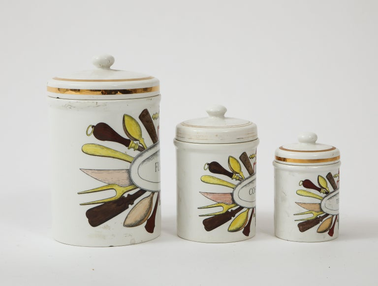 Piero Fornasetti Vintage Ceramic Canister Storage Jars, Italy Flour, Tea, 1960s For Sale 4