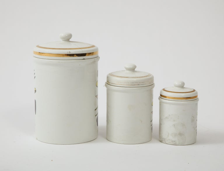Piero Fornasetti Vintage Ceramic Canister Storage Jars, Italy Flour, Tea, 1960s For Sale 5