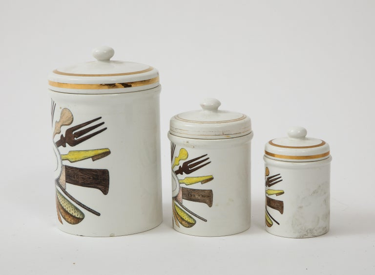 Piero Fornasetti Vintage Ceramic Canister Storage Jars, Italy Flour, Tea, 1960s For Sale 6