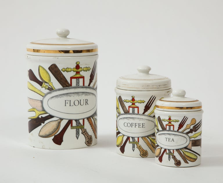 Piero Fornasetti vintage ceramic storage jars, Italy, 1960s