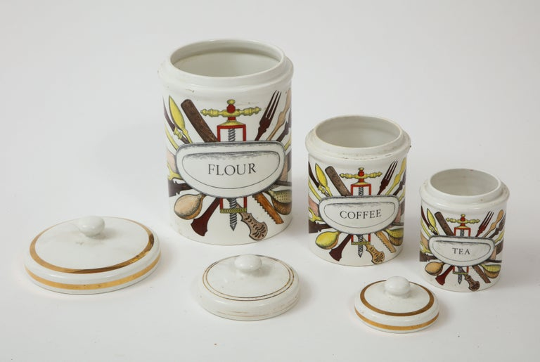 Italian Piero Fornasetti Vintage Ceramic Canister Storage Jars, Italy Flour, Tea, 1960s For Sale