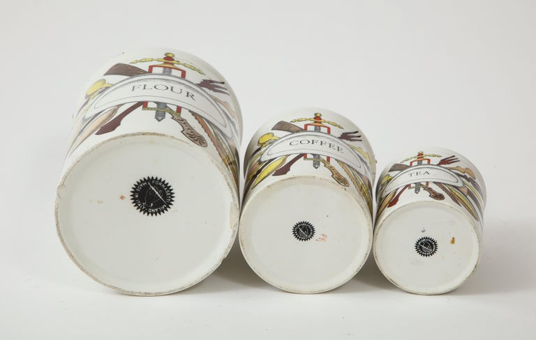 Mid-20th Century Piero Fornasetti Vintage Ceramic Canister Storage Jars, Italy Flour, Tea, 1960s For Sale