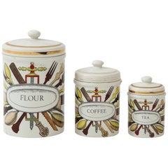 Piero Fornasetti Vintage Ceramic Storage Jars, Italy, 1960s