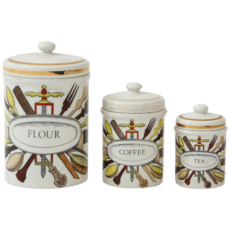 Piero Fornasetti vintage ceramic storage jars, Italy, 1960s.