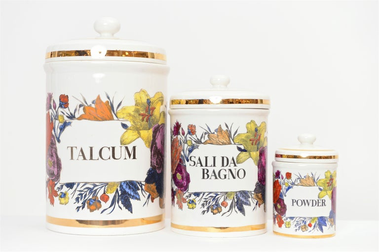 Mid-Century Modern Piero Fornasetti Vintage Ceramic Storage Jars, Italy, circa 1960 For Sale